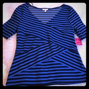 Candies Navy and black short sleeve blouse